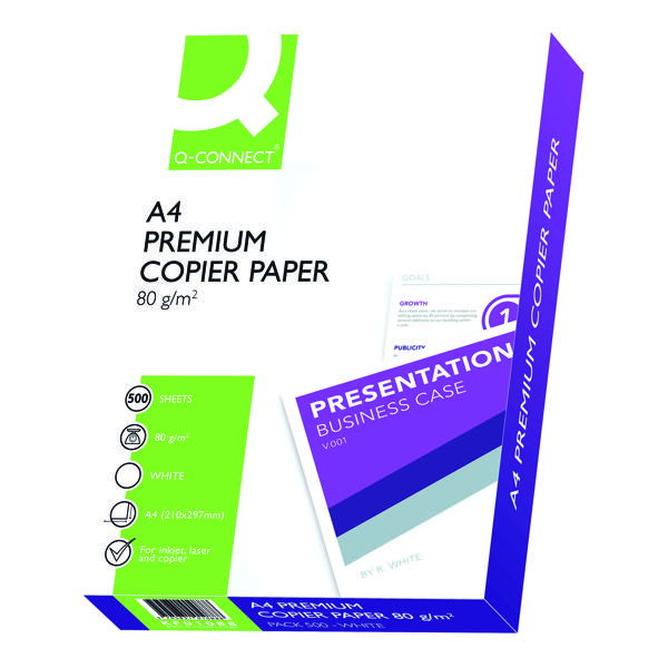 White 80gsm Q-Connect White A4 Premium Copier Paper (2500 Pack) KF01088A