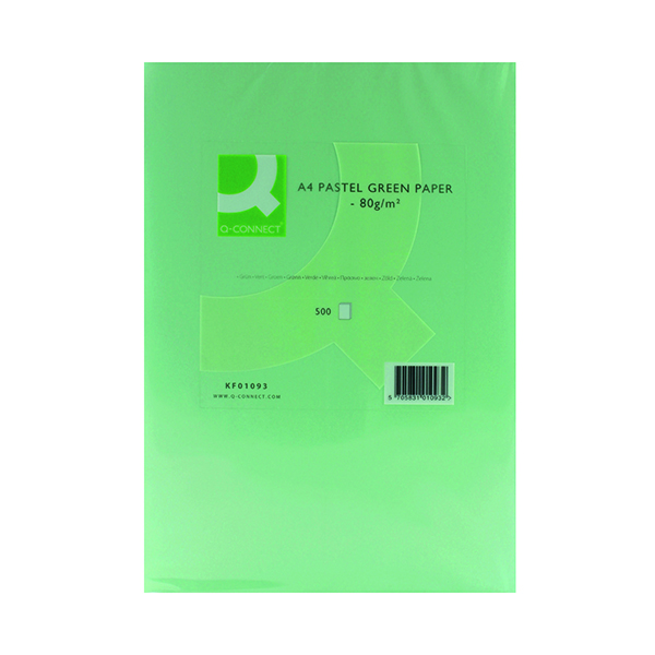 Colour 80gsm Q-Connect Green Copier A4 Paper 80gsm (500 Pack) KF01093