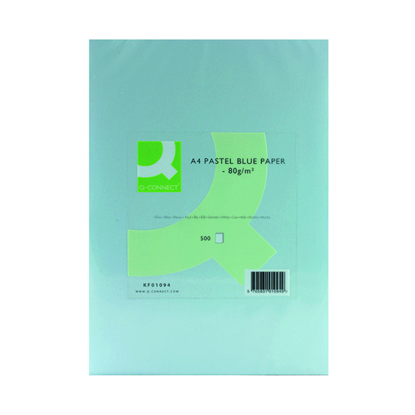 Colour 80gsm Q-Connect Blue Ream Coloured Copier A4 Paper 80gsm (500 Pack) KF01094
