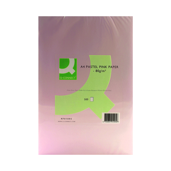 Colour 80gsm Q-Connect Pink Ream Coloured Copier A4 Paper 80gsm (500 Pack) KF01095
