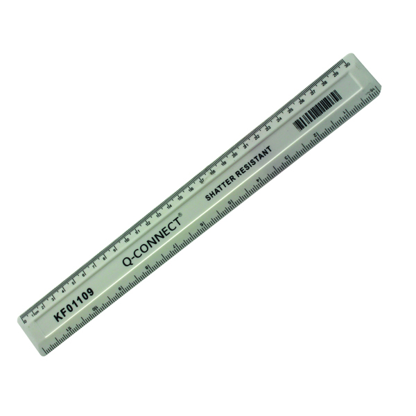 Q-Connect Ruler Shatterproof 300mm White KF01109