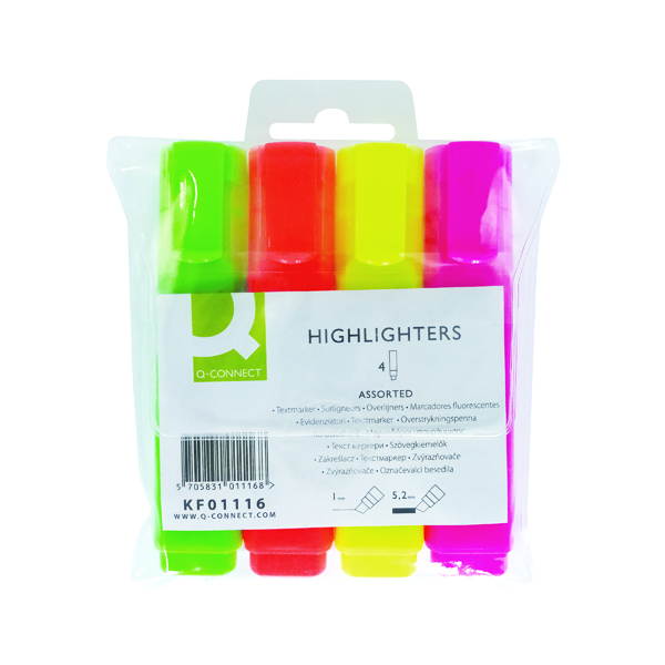 Assorted Q-Connect Assorted Highlighter Pens (4 Pack) KF01116
