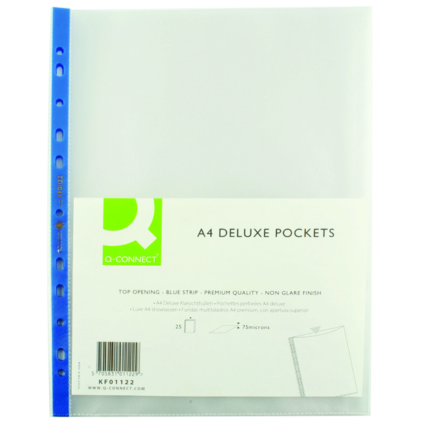 A4 Q-Connect Delux Punched Pocket Top Opening Blue Strip A4 Clear (25 Pack) KF01122