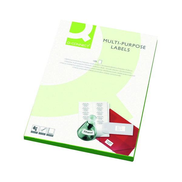 White A4 Sheet Q-Connect Multipurpose Labels 38.1x21.2mm 65 Per Sheet White (6500 Pack) KF01130