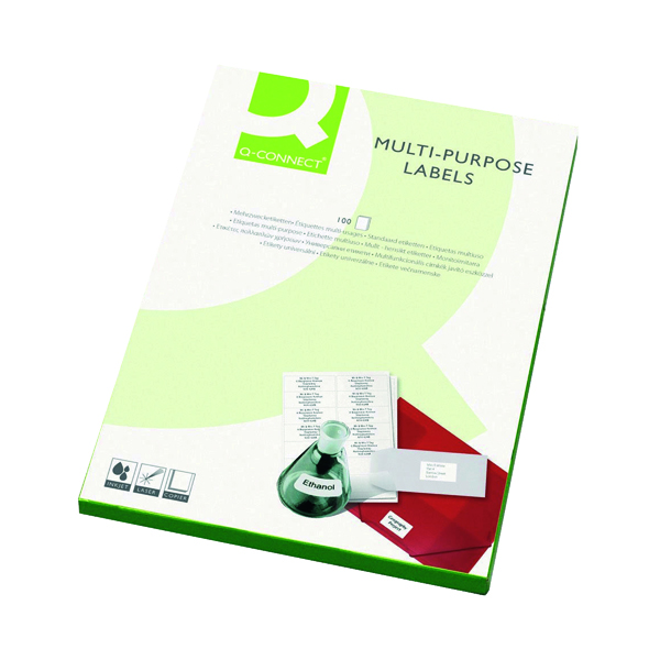 White A4 Sheet Q-Connect Multipurpose Copier Labels 70x37mm 24 Per Sheet White (2400 Pack) KF01133
