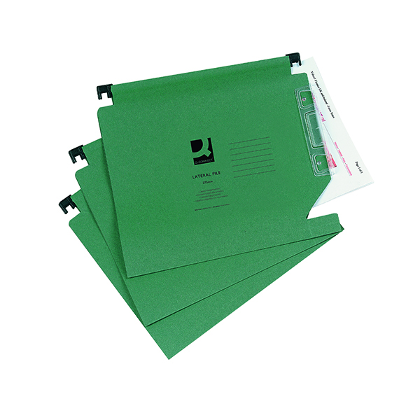 Q-Connect 15mm Lateral File Manilla 150 Sheet Green (25 Pack) KF01184