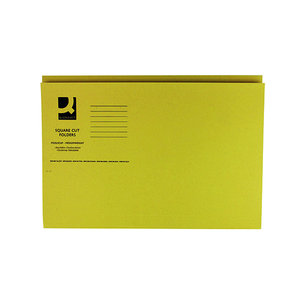 Q-Connect Square Cut Folder Mediumweight 250gsm Foolscap Yellow (100 Pack) KF01185