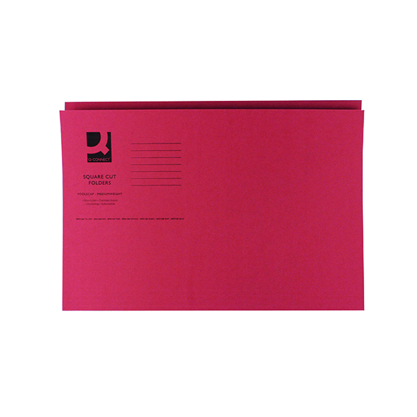 Q-Connect Square Cut Folder Mediumweight 250gsm Foolscap Red (100 Pack) KF01186