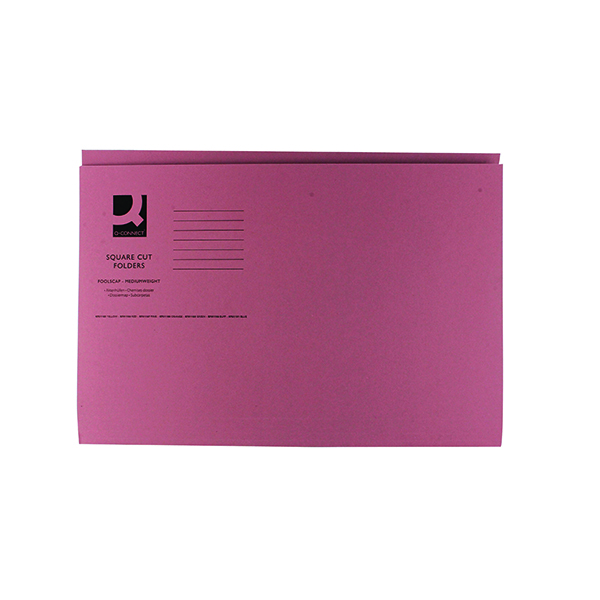 Q-Connect Square Cut Folder Mediumweight 250gsm Foolscap Pink (100 Pack) KF01187