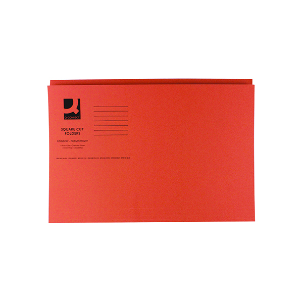Q-Connect Square Cut Folder Mediumweight 250gsm Foolscap Orange (100 Pack) KF01188