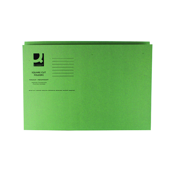 Q-Connect Square Cut Folder Mediumweight 250gsm Foolscap Green (100 Pack) KF01189