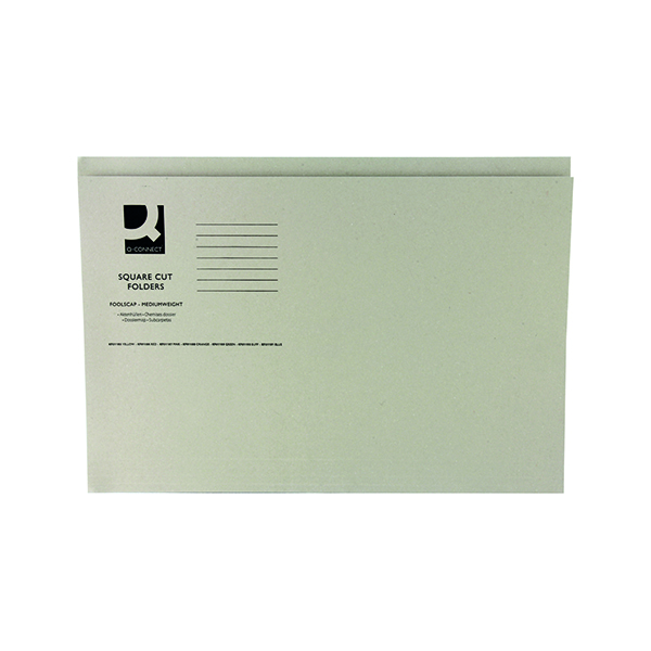 Q-Connect Square Cut Folder Mediumweight 250gsm Foolscap Buff (100 Pack) KF01190