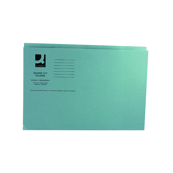 Q-Connect Square Cut Folder Mediumweight 250gsm Foolscap Blue (100 Pack) KF01191
