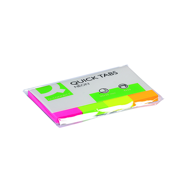 Tabs Q-Connect Quick Tabs 20 x 50mm Neon (200 Pack) KF01226