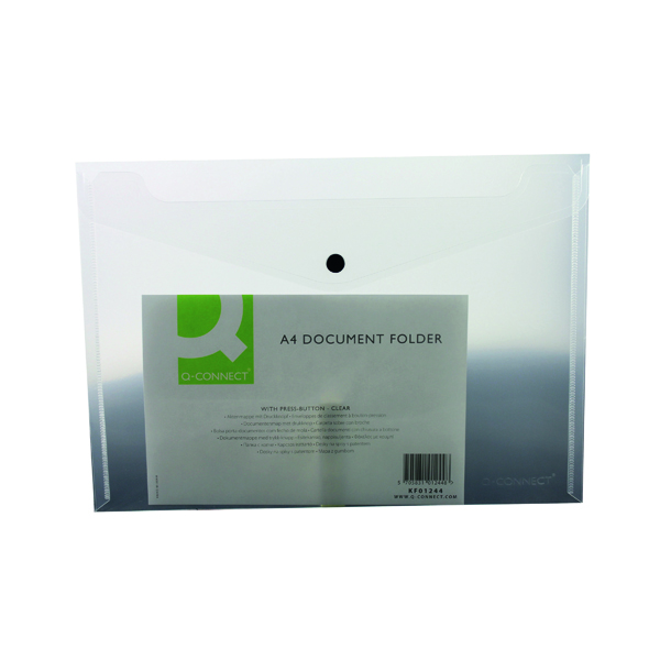 Q-Connect Polypropylene Document Folder A4 Clear (12 Pack) KF01244Q