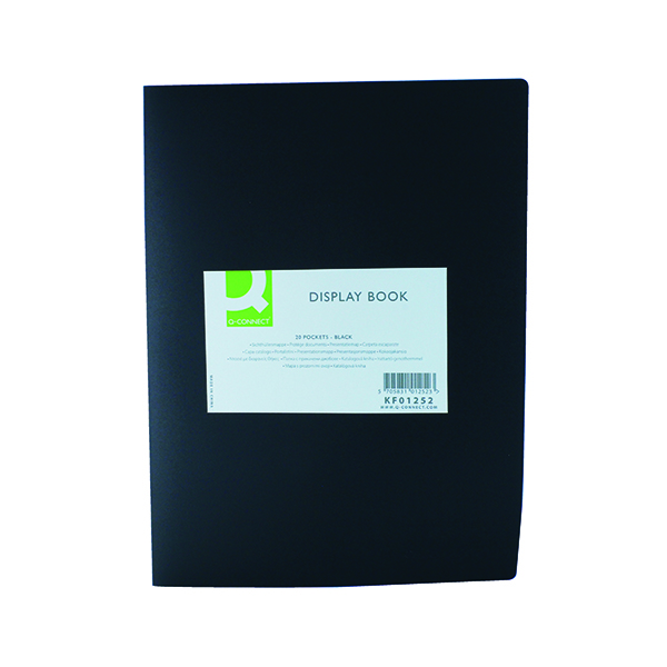 Q-Connect Polypropylene Display Book 20 Pocket Black KF01252