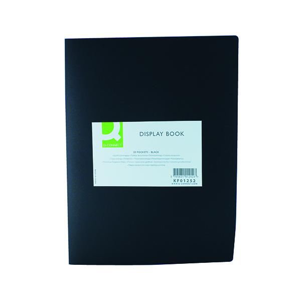11-20 Pockets Q-Connect Polypropylene Display Book 20 Pocket Black KF01252