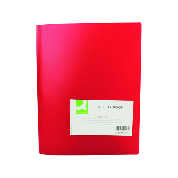 Q-Connect Polypropylene Display Book 40 Pocket Red KF01258