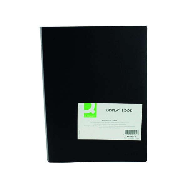 Q-Connect Polypropylene Display Book 40 Pocket Black KF01260