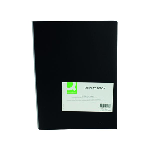 31-50 Pockets Q-Connect Polypropylene Display Book 40 Pocket Black KF01260