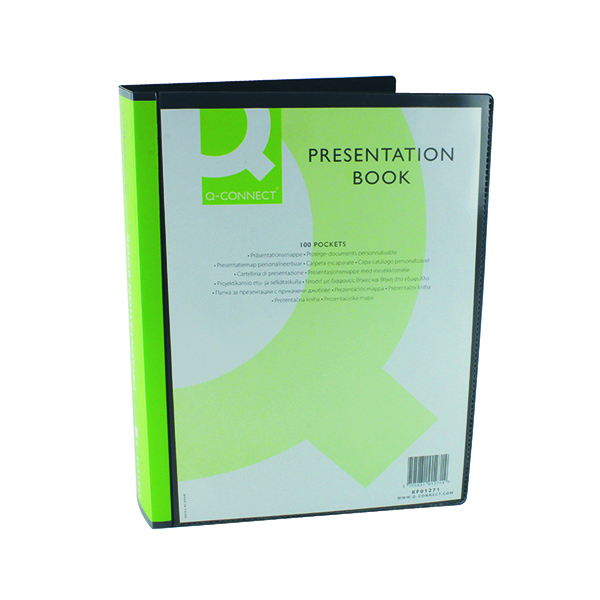 Q-Connect Presentation Display Book 100 Pocket A4 Black KF01271