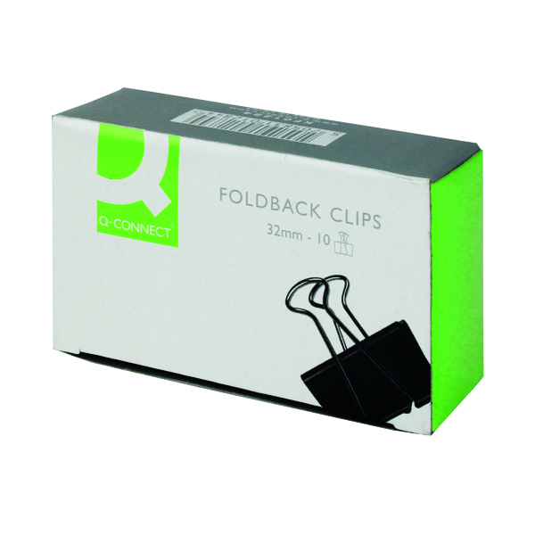 Clips Q-Connect Foldback Clip 32mm Black (10 Pack) KF01284