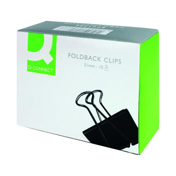 Clips Q-Connect Foldback Clip 51mm Black (10 Pack) KF01286