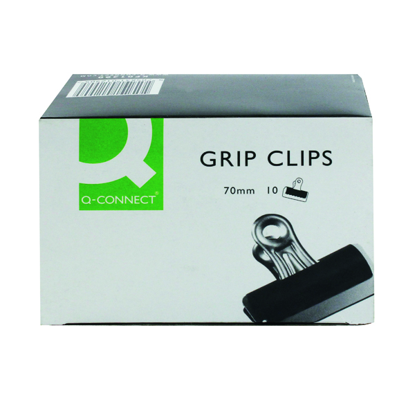 Clips Q-Connect Grip Clip 70mm Black (10 Pack) KF01290