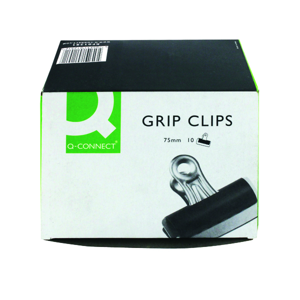 Clips Q-Connect Grip Clip 75mm Black (10 Pack) KF01291