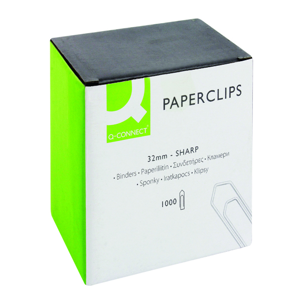 Clips Q-Connect Paperclips No Tear 32mm (1000 Pack) KF01313
