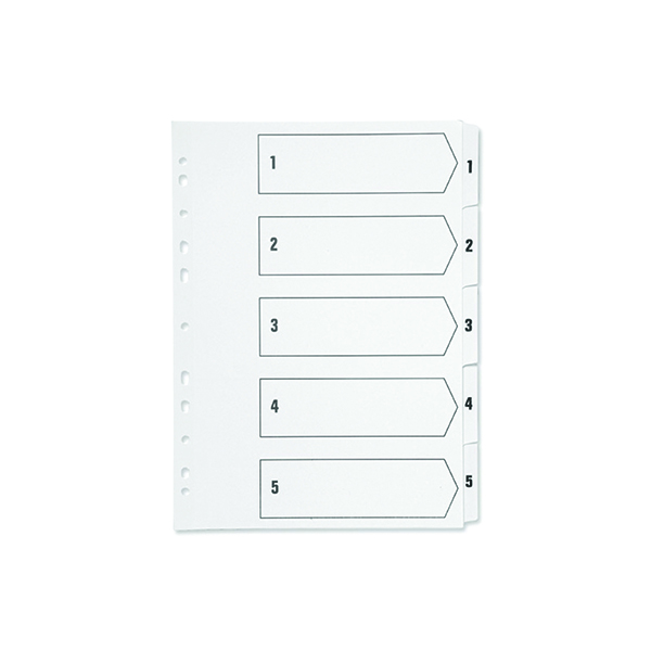Indexes Q-Connect 1-5 Index Multi-punched Polypropylene White A4 KF01352