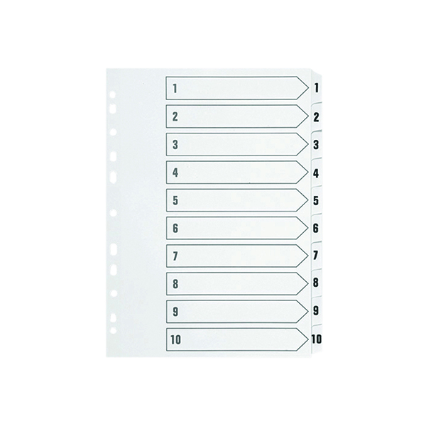 Indexes Q-Connect 1-10 Index Multi-punched Polypropylene White A4 KF01353