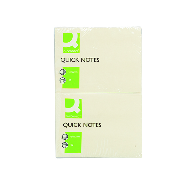 Q-Connect Quick Notes 76 x 102mm Yellow (12 Pack) KF01410