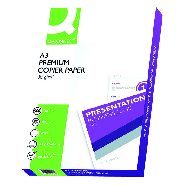 White 80gsm Q-Connect White A3 80gsm Premier Copier Paper (500 Pack) KF01425