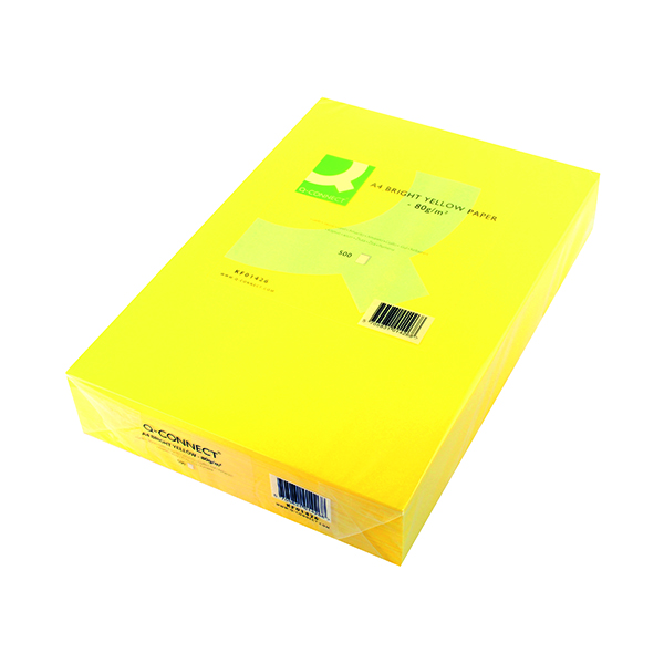 Colour 80gsm Q-Connect Bright Yellow Copier A4 Paper 80gsm (500 Pack) KF01426