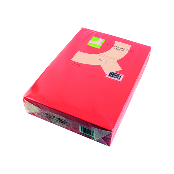 Colour 80gsm Q-Connect Bright Red Copier A4 Paper 80gsm (500 Pack) KF01427