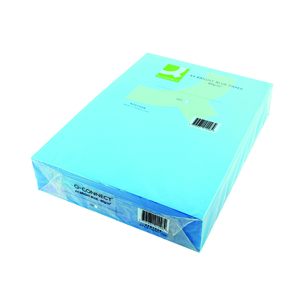 Colour 80gsm Q-Connect Bright Blue Copier A4 Paper 80gsm (500 Pack) KF01428