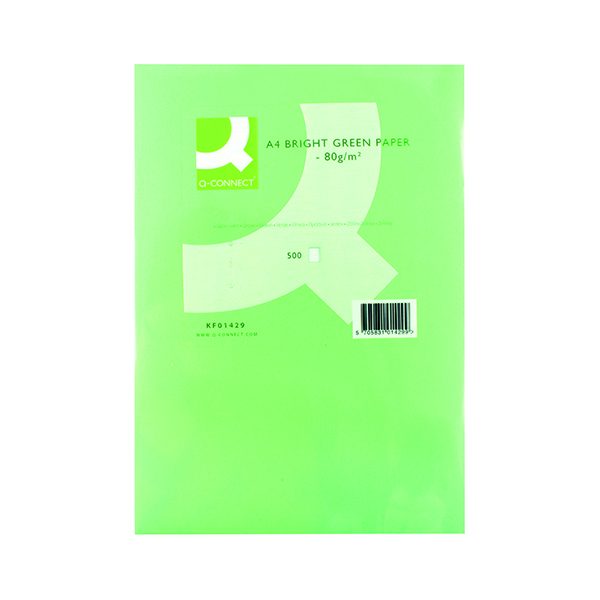Colour 80gsm Q-Connect Bright Green Copier A4 Paper 80gsm (500 Pack) KF01429