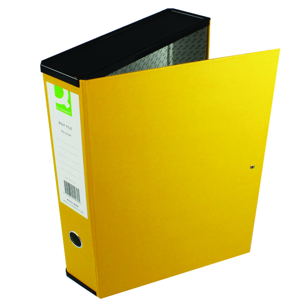 Q-Connect 75mm Box File Foolscap Yellow (5 Pack) 31819KIN0