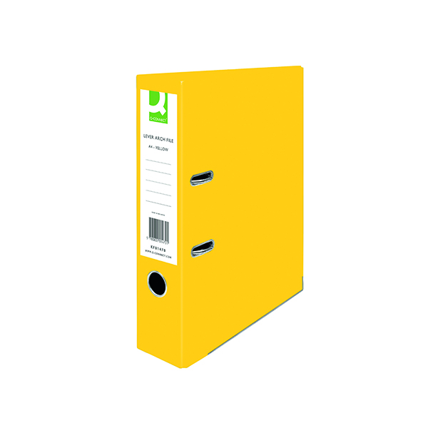 A4 Size Q-Connect Lever Arch File Paperbacked A4 Yellow (10 Pack) KF01470