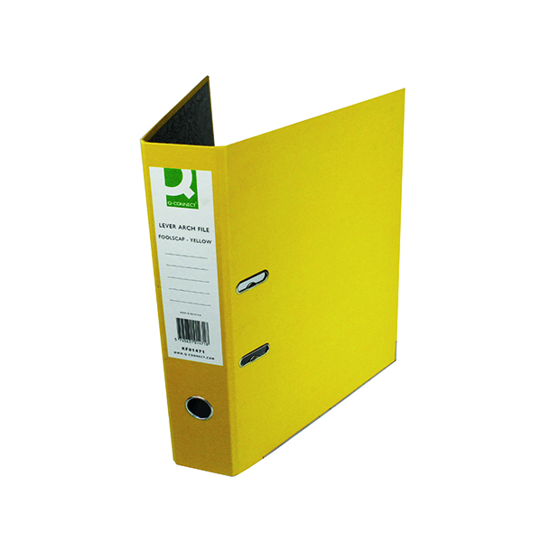 Q-Connect Lever Arch File Paperbacked Foolscap Yellow (10 Pack) KF01471