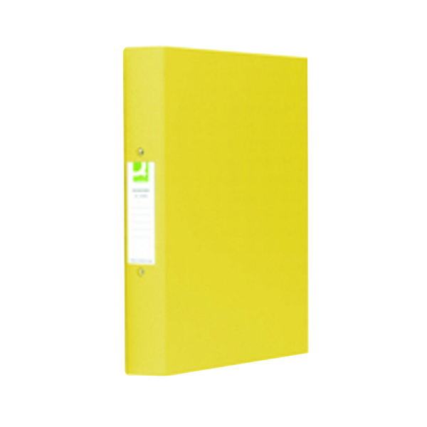A4 Size Q-Connect 25mm 2 Ring Binder Polypropylene A4 Yellow (10 Pack) KF01472