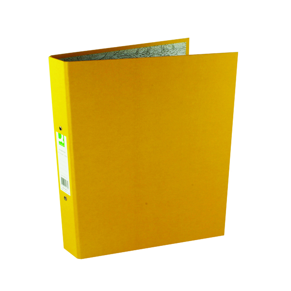 A4 Size Q-Connect 2 Ring 25mm Paper Over Board Yellow A4 Binder (10 Pack) KF01473