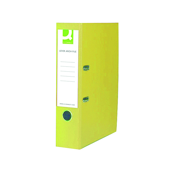 Q-Connect 70mm Lever Arch File Polypropylene Foolscap Yellow (10 Pack) KF01476