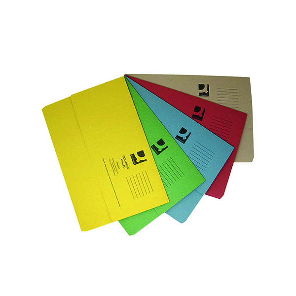 Foolscap Q-Connect Document Wallets Foolscap Assorted (50 Pack) KF01490