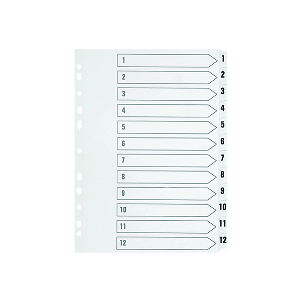 Indexes Q-Connect 1-12 Index Multi-Punched Reinforced Board Clear Tab A4 WhiteKF01529