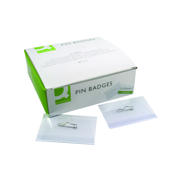 Holders Q-Connect Pin Badge 54x90mm (50 Pack) KF01564