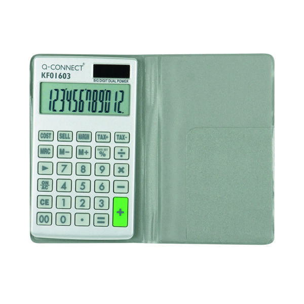 Handheld Calculator Q-Connect Silver Large 10-Digit Pocket Calculator KF01603