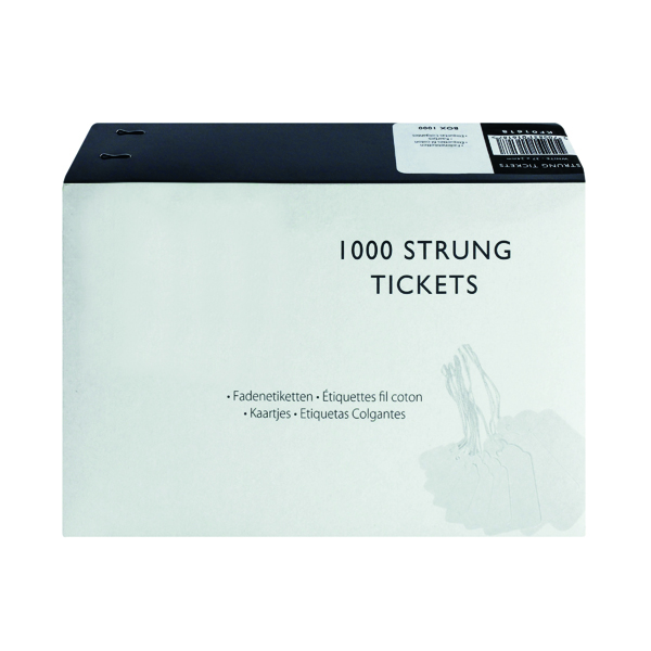 For Labelling Guns Strung Ticket 37x24mm White (1000 Pack) KF01618