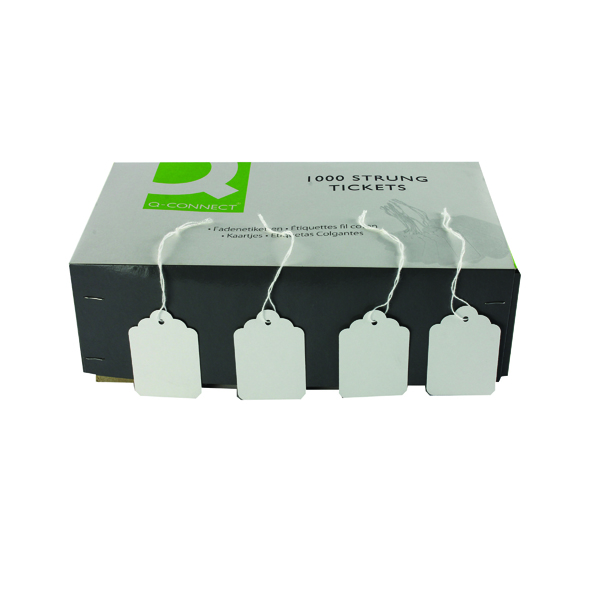 Strung Ticket 57x38mm White (1000 Pack) KF01621